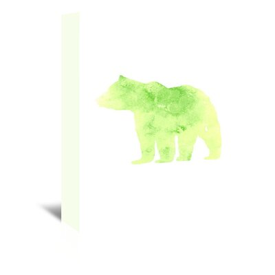 Americanflat 'Watercolour Bear' by Jetty Printables Graphic Art Wrapped on Canvas in Green