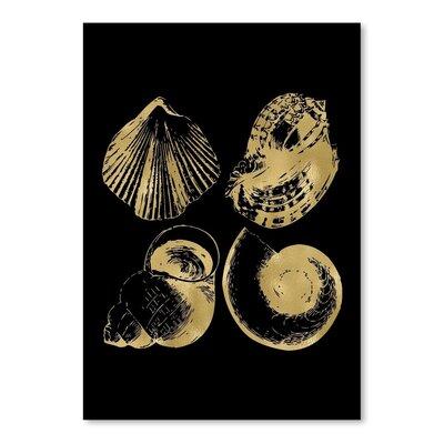 Americanflat 'Seashell Quad Gold on Black' by Amy Brinkman Graphic Art