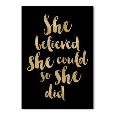 Americanflat 'She Believed She Could Gold on Black' by Amy Brinkman Typography