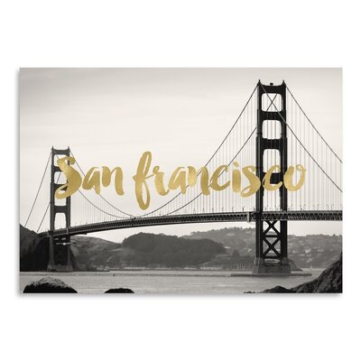 Americanflat 'San Francisco Golden Gate Gold on Black White Photo' by Amy Brinkman Graphic Art