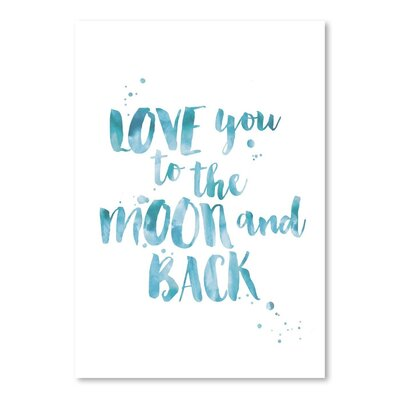 Americanflat 'Love You Moon Back Black White Blue' by Amy Brinkman Typography