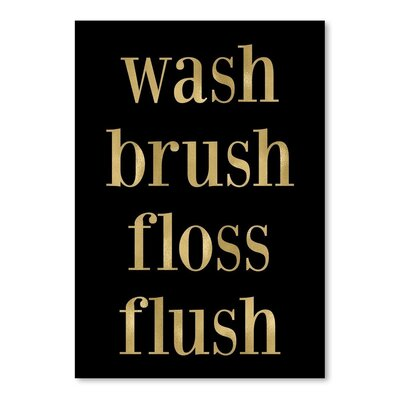Americanflat 'Wash Brush Floss Gold on Black' by Amy Brinkman Typography