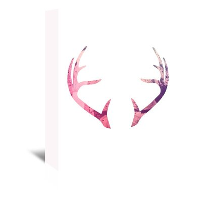 Americanflat 'Antlers' by Jetty Printables Graphic Art Wrapped on Canvas in Pink