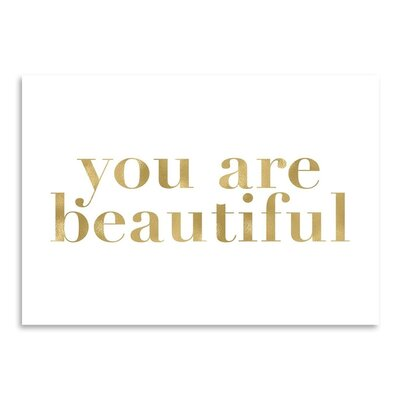 Americanflat 'You Are Beautiful' by Amy Brinkman Typography in White