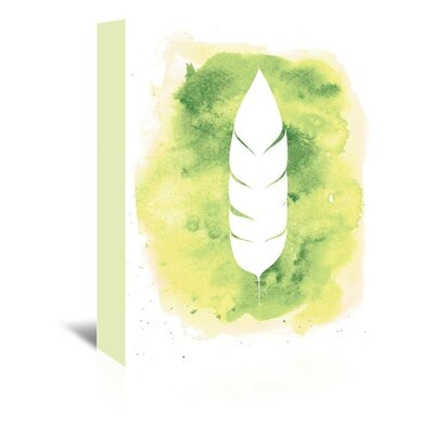 Americanflat 'Watercolour Feather' by Jetty Printables Graphic Art Wrapped on Canvas in Green