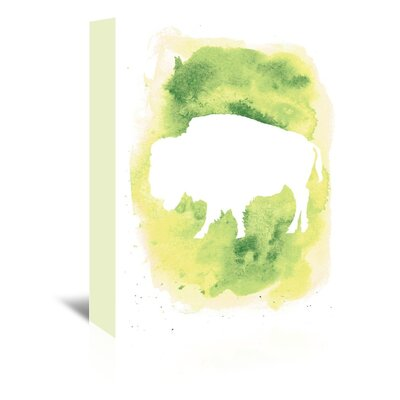 Americanflat 'Watercolour Buffalo' by Jetty Printables Graphic Art Wrapped on Canvas in Green