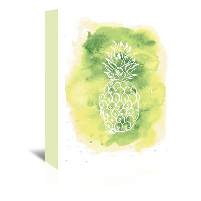 Americanflat 'Watercolour Yellow Background Pineapple' by Jetty Printables Graphic Art Wrapped on Canvas