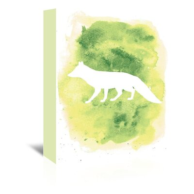 Americanflat 'Watercolour Fox' by Jetty Printables Graphic Art Wrapped on Canvas in Green