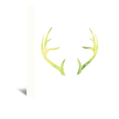 Americanflat 'Watercolour Yellow Antlers' by Jetty Printables Graphic Art Wrapped on Canvas