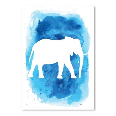 Americanflat 'Watercolour Background Elephant' by Jetty Printables Graphic Art in Blue