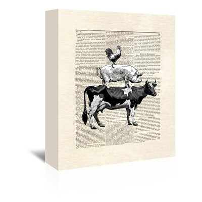 Americanflat 'Cow Stack' by Matt Dinniman Graphic Art Wrapped on Canvas