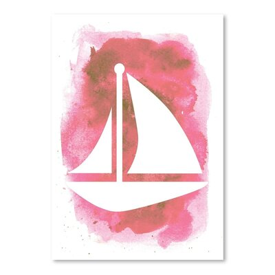 Americanflat 'Watercolour Sailboat' by Jetty Printables Graphic Art in Pink
