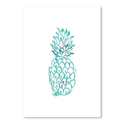 Americanflat 'Watercolour Pineapple' by Jetty Printables Graphic Art in Blue