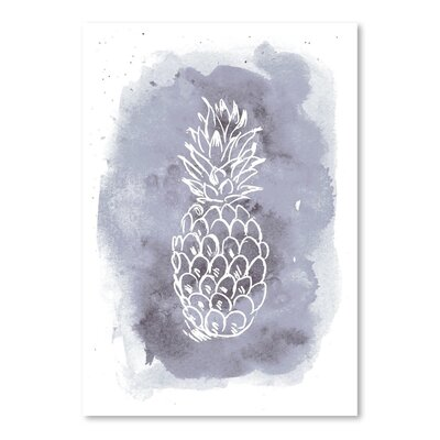 Americanflat 'Watercolour Background Pineapple' by Jetty Printables Graphic Art in Grey