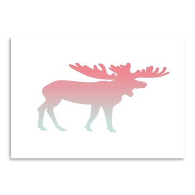 Americanflat 'Coral Mint Faded Moose' by Jetty Printables Graphic Art