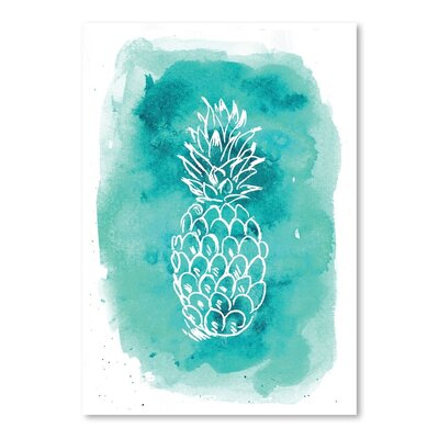 Americanflat 'Watercolour Background Pineapple' by Jetty Printables Graphic Art in Blue