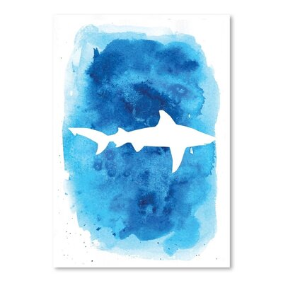 Americanflat 'Watercolourackground Shark' by Jetty Printables Graphic Art