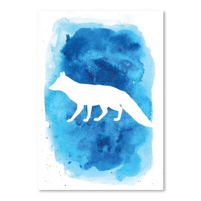Americanflat 'Watercolour Background Fox' by Jetty Printables Graphic Art in Blue
