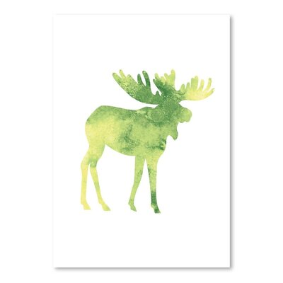 Americanflat 'Watercolour Faded Moose' by Jetty Printables Graphic Art in Green