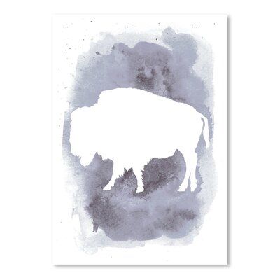 Americanflat 'Watercolour Buffalo' by Jetty Printables Graphic Art in Grey