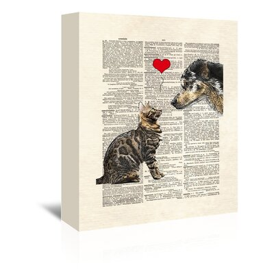 Americanflat 'Dog Cat Love' by Matt Dinniman Graphic Art Wrapped on Canvas