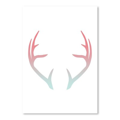 Americanflat 'Coral Mint Faded Antlers' by Jetty Printables Graphic Art
