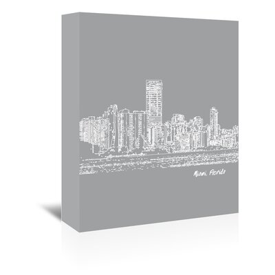 Americanflat 'Skyline Miami 2' by Brooke Witt Graphic Art Wrapped on Canvas in Grey