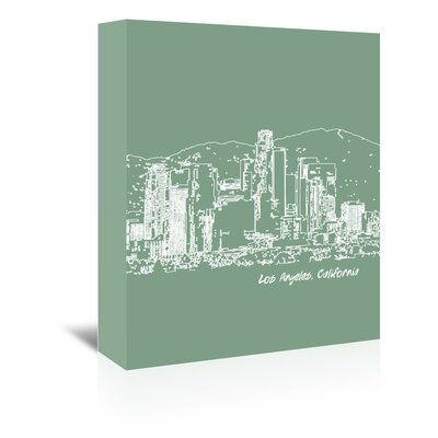 Americanflat 'Skyline Los Angeles 6' by Brooke Witt Graphic Art Wrapped on Canvas in Green