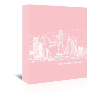 Americanflat 'Skyline Los Angeles 9' by Brooke Witt Graphic Art Wrapped on Canvas in Pink and White
