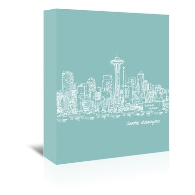 Americanflat 'Skyline Seattle 5' by Brooke Witt Graphic Art Wrapped on Canvas in Blue