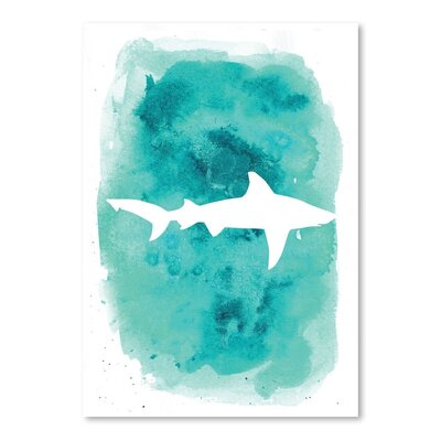Americanflat 'Watercolour Shark' by Jetty Printables Graphic Art in Blue