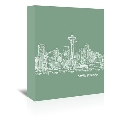 Americanflat 'Skyline Seattle 6' by Brooke Witt Graphic Art Wrapped on Canvas in Green