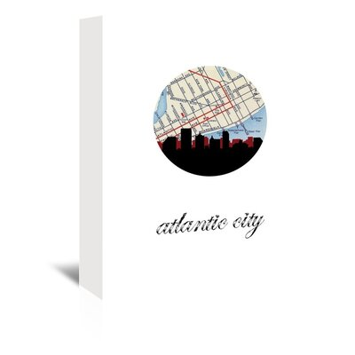 Americanflat 'Atlantic City Map SKyline' by Paper Finch Graphic Art Wrapped on Canvas