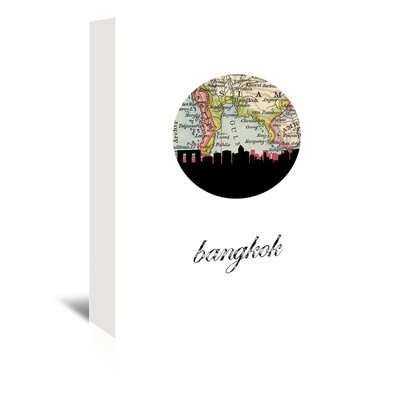 Americanflat 'Bangkok Map Skyline' by Paper Finch Graphic Art Wrapped on Canvas