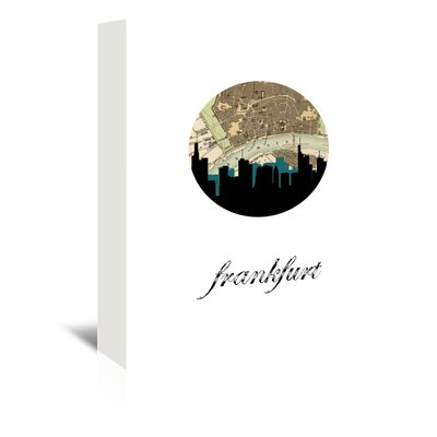Americanflat 'Frankfurt Map Skyline' by PaperFinch Graphic Art Wrapped on Canvas
