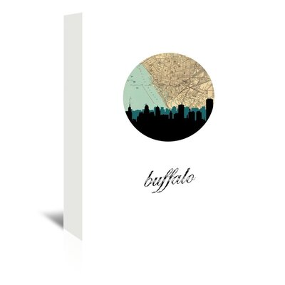 Americanflat 'Buffalo Map Skyline' by Paper Finch Graphic Art Wrapped on Canvas