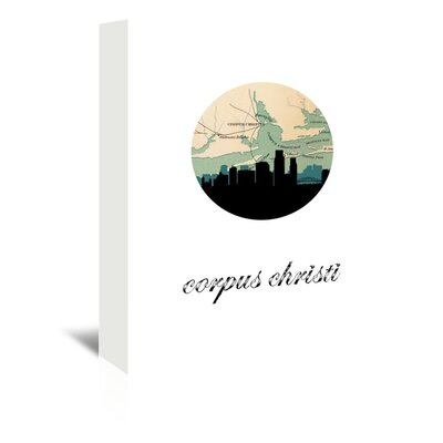 Americanflat 'Corpus Chrisi Map Skyline' by PaperFinch Graphic Art Wrapped on Canvas