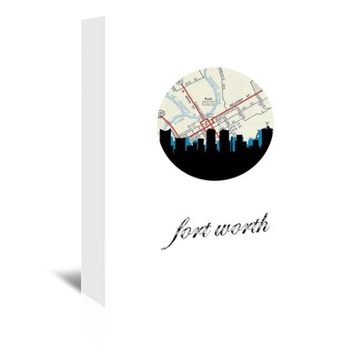 Americanflat 'Fort Worth Map Skyline' by PaperFinch Graphic Art Wrapped on Canvas