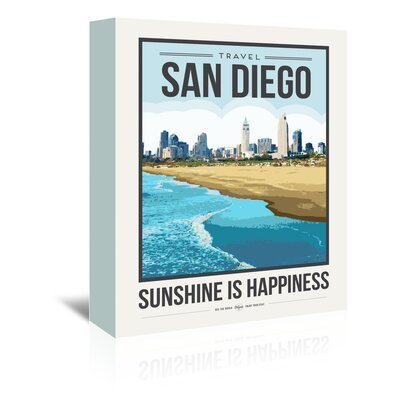 Americanflat 'Travel Poster San Diego' by Brooke Witt Vintage Advertisement Wrapped on Canvas