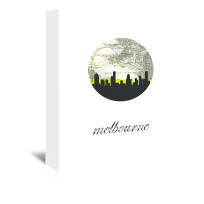 Americanflat 'Melbourne Map Skyline' by PaperFinch Graphic Art Wrapped on Canvas