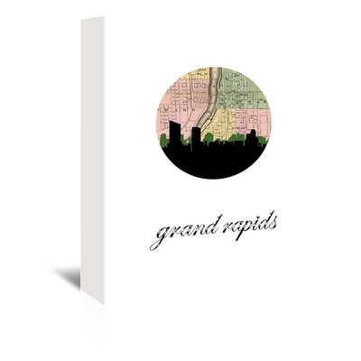 Americanflat 'Grand Rapids Map Skyline' by PaperFinch Graphic Art Wrapped on Canvas