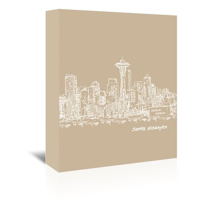 Americanflat 'Skyline Seattle 7' by Brooke Witt Graphic Art Wrapped on Canvas in Brown