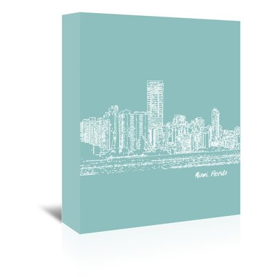 Americanflat 'Skyline Miami 5' by Brooke Witt Graphic Art Wrapped on Canvas in Blue