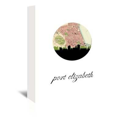 Americanflat 'Port Elizabeth Map Skyline' by PaperFinch Graphic Art Wrapped on Canvas