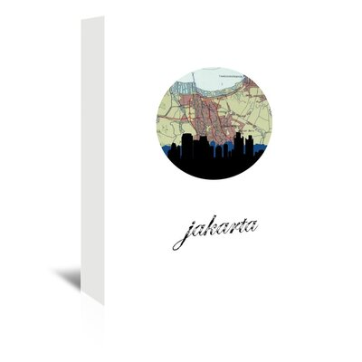 Americanflat 'Jakarta Map Skyline' by PaperFinch Graphic Art Wrapped on Canvas