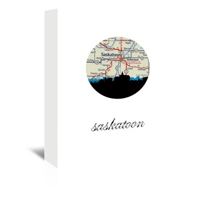 Americanflat 'Saskatoon Map Skyline' by PaperFinch Graphic Art Wrapped on Canvas