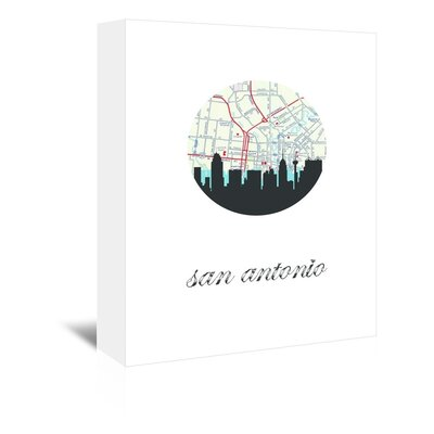 Americanflat 'San Antonio Map Skyline AF' by PaperFinch Graphic Art Wrapped on Canvas