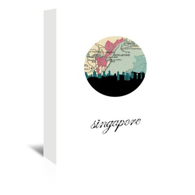 Americanflat 'Singapore Map Skyline' by PaperFinch Graphic Art Wrapped on Canvas