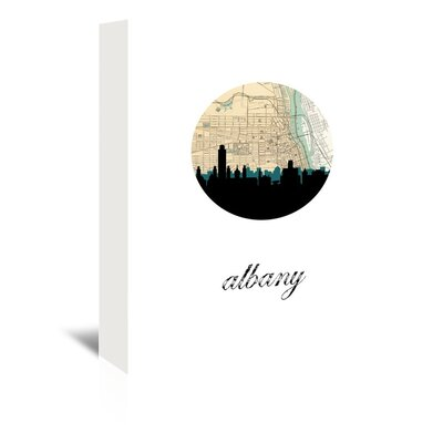 Americanflat 'Albany Map Skyline' by Paper Finch Graphic Art Wrapped on Canvas