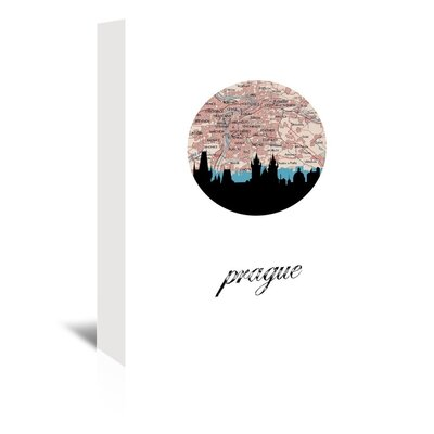 Americanflat 'Prague Map Skyline' by PaperFinch Graphic Art Wrapped on Canvas